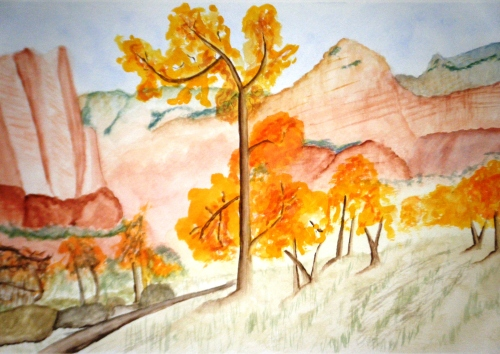 Zion Watercolor Landscape